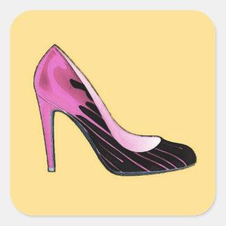 Stiletto pump, hot pink on orange square sticker