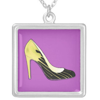 Stiletto pump, yellow on purple silver plated necklace