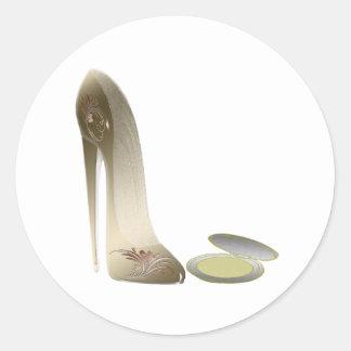 Stiletto Shoe and Compact Art Classic Round Sticker