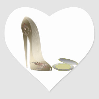Stiletto Shoe and Compact Art Heart Sticker