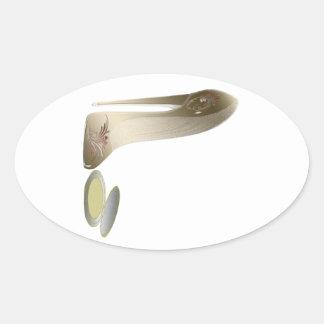 Stiletto Shoe and Compact Art Oval Sticker