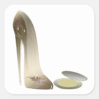 Stiletto Shoe and Compact Art Square Sticker
