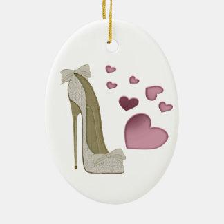 Stiletto Shoe and Pink Hearts Art Ceramic Ornament