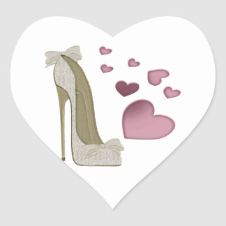 Stiletto Shoe and Pink Hearts Art Heart Sticker