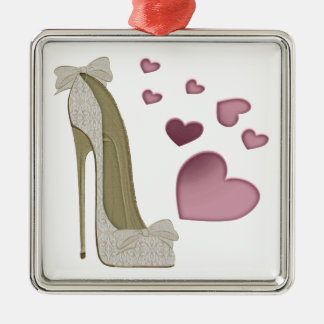 Stiletto Shoe and Pink Hearts Art Metal Ornament