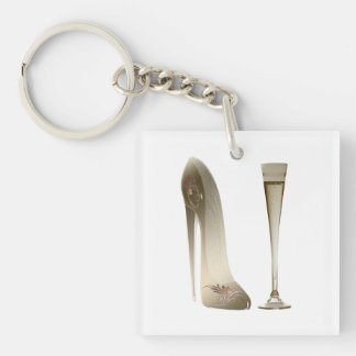 Stiletto Shoe Art and Champagne Flute Keychain