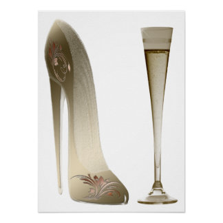 Stiletto Shoe Art and Champagne Flute Poster