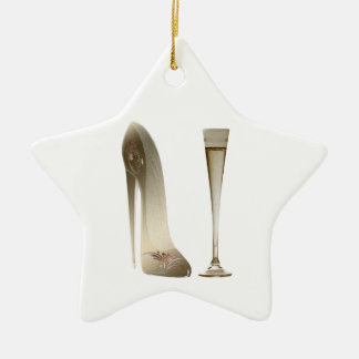 Stiletto Shoe High Heel Art and Champagne Flute Ceramic Ornament