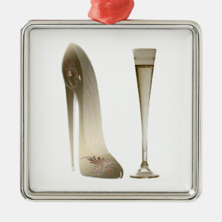 Stiletto Shoe High Heel Art and Champagne Flute Metal Ornament