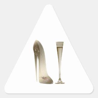 Stiletto Shoe High Heel Art and Champagne Flute Triangle Sticker