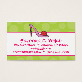 Stiletto Shoe Polka Dot Business Calling Cards