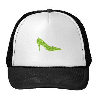 stiletto with green leaves trucker hat