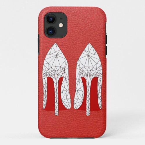 STILETTOS Mesh triangle style ON red leather Phone Case
