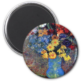 Still A Vase With Daisies And Anemones By Vincent 2 Inch Round Magnet