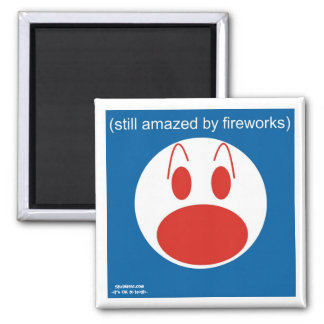 Still Amazed By Fireworks 2 Inch Square Magnet