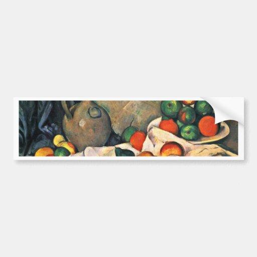 Still Drapery Jug And Fruit Bowl By Paul Cézanne Bumper Sticker