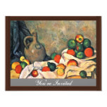 Still Drapery Jug And Fruit Bowl By Paul Cézanne Personalized Invitations
