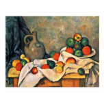 Still Drapery Jug And Fruit Bowl By Paul Cézanne Post Card