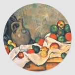 Still Drapery Jug And Fruit Bowl By Paul Cézanne Round Stickers