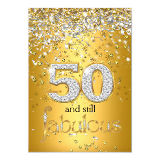 Still Fabulous 50 Gold Silver Streamers 50th Party Card
