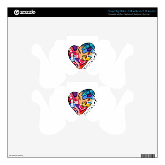 Still Here Patchwork Heart of Many Colors Decal For PS3 Controller