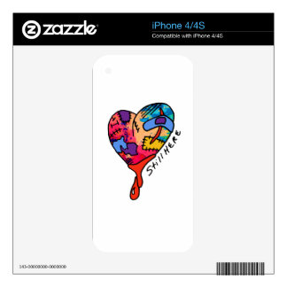 Still Here Patchwork Heart of Many Colors Skins For iPhone 4