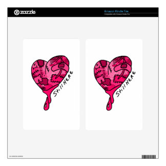 Still Here Pink Patchwork Heart Kindle Fire Skins