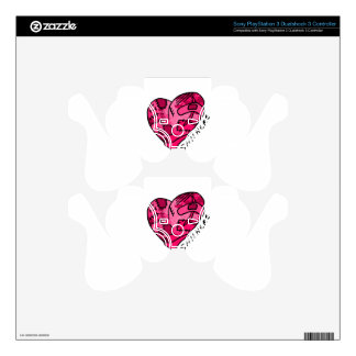 Still Here Pink Patchwork Heart PS3 Controller Decals
