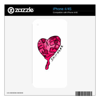 Still Here Pink Patchwork Heart Skin For iPhone 4S