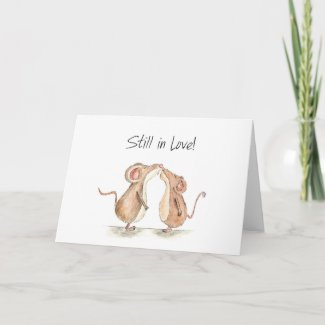 Still in Love - Two cute kissing Mice Greeting Card