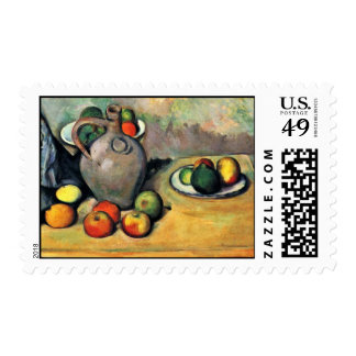Still Jug And Fruit On A Table By Paul Cézanne Stamps