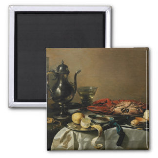 Still Life, 1643 (oil on panel) 2 Inch Square Magnet