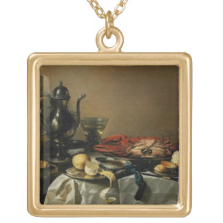 Still Life, 1643 (oil on panel) Gold Plated Necklace