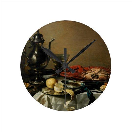 Still Life, 1643 (oil on panel) Round Clock