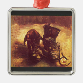 Still Life, A pair of shoes by Van Gogh Square Metal Christmas Ornament