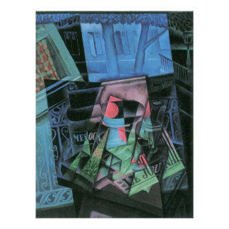 Still life and urban landscape by Juan Gris Poster