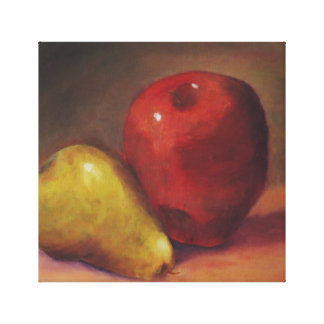 Still life apple and pear on canvas