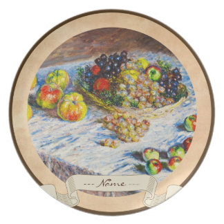 Still Life - Apples and Grapes Claude Monet Plates