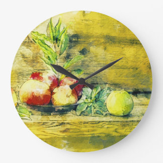 Still Life Apples In Bowl Rustic Large Clock