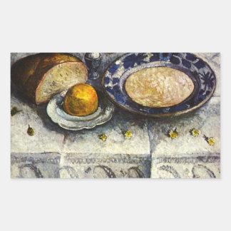 Still Life at breakfast table by Modersohn-Becker Rectangular Stickers