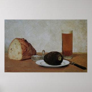 Still life beer and radish - Albert Anker Poster