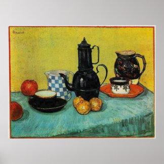 Still Life  Blue Enamel Coffeepot, etc. 1888 Poster