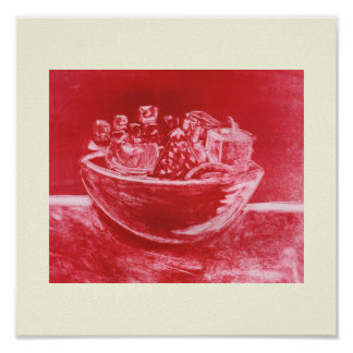 Still life bowl of fruit, red monoprint art poster