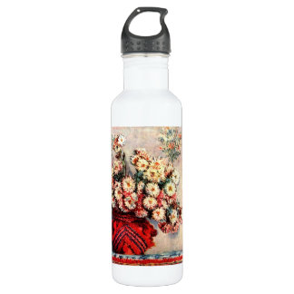 still life chrysanthemums by Claude Monet Water Bottle
