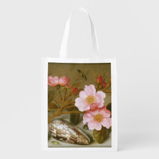 Still life depicting flowers grocery bag