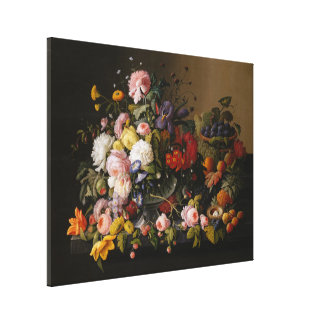 Still Life : Flowers and Fruit by Severin Roesen Canvas Print