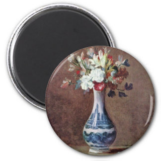 Still Life Flowers In A Vase By Chardin Jean-Bapti 2 Inch Round Magnet
