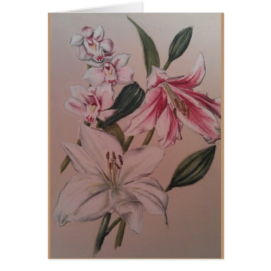 Still life flowers - lilly and orchid card