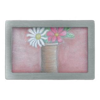 still life flowers rectangular belt buckle