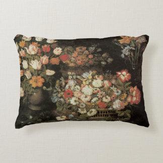 Still Life Flowers, Vintage Floral Baroque Accent Pillow